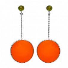Peridot Carnelian Gemstone 925 Sterling Silver Gold Plated Chain Stud Earrrings