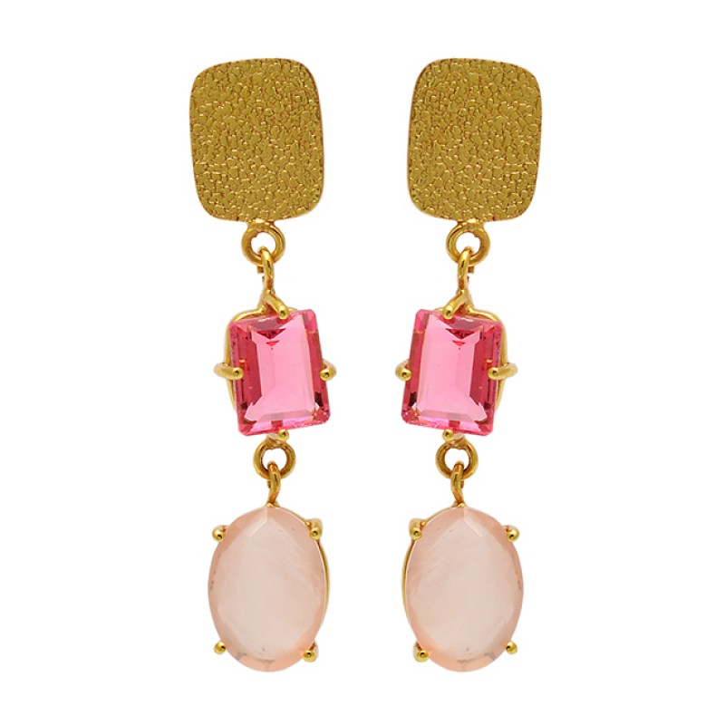 Rose Quartz Pink Quartz Gemstone 925 Sterling Silver Gold Plated Stud Earrings