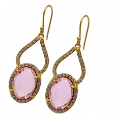 Faceted Oval Shape Pink Quartz Gemstone 925 Silver Gold Plated Designer Earrings