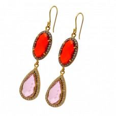 Red Onyx Pink Quartz Gemstone 925 Sterling Silver Gold Plated Dangle Earrings