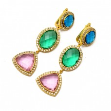 925 Sterling Silver Faceted Multi Color Gemstone Gold Plated Dangle Stud Earrings