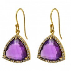 Pave Cz Amethyst Gemstone 925 Sterling Silver Gold Plated Dangle Earrings