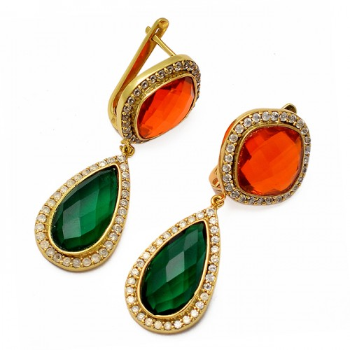 Cushion Pear Shape Gemstone 925 Sterling Silver Gold Plated Clip-On Earrings