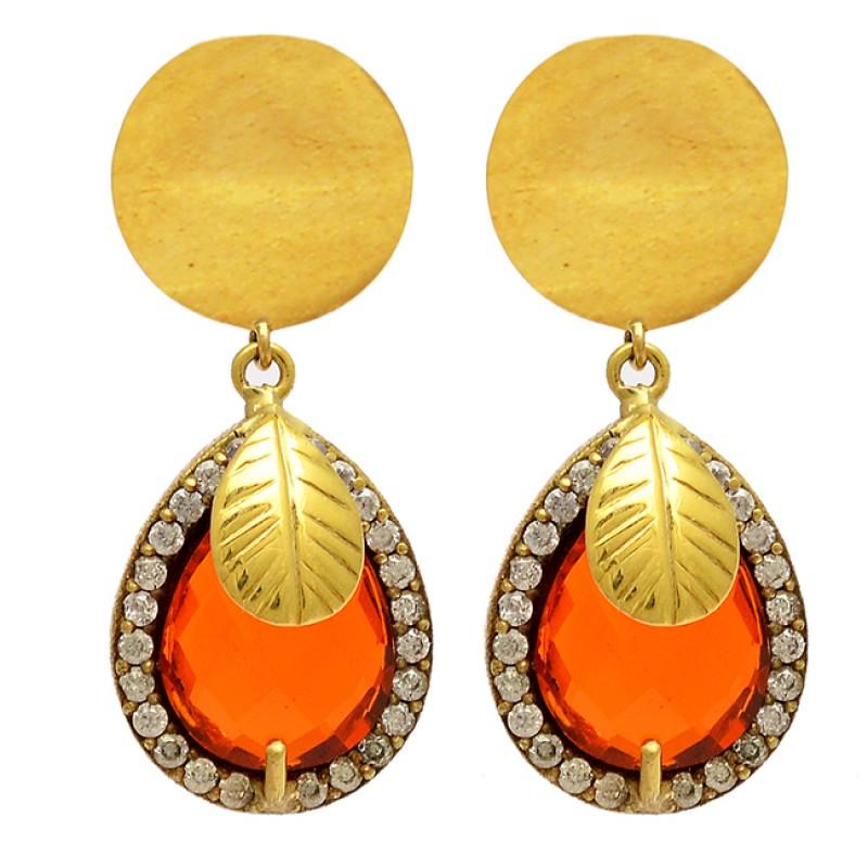 Pear Shape Carnelian Gemstone 925 Sterling Silver Gold Plated Dangle Stud Earrings