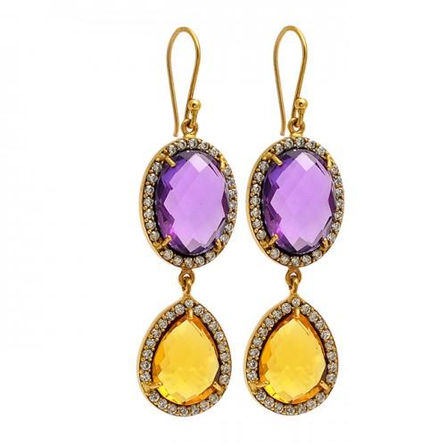 Amethyst Citrine Cz Gemstone 925 Sterling Silver Gold Plated Dangle Earrings