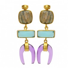 Labradorite Chalcedony Amethyst Gemstone 925 Silver Gold Plated Stud Dangle Earrings