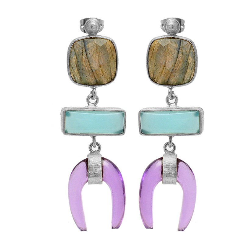 Labradorite Chalcedony Amethyst Gemstone 925 Silver Gold Plated Stud Dangle Earrings