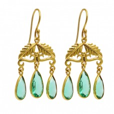 Pear Shape Green Apatite Gemstome 925 Sterling Silver Gold Plated Dangle Earrings