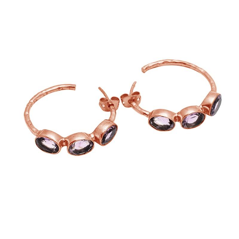 Oval Shape Amethyst Gemstone 925 Sterling Silver Gold Plated Hoop Earrings