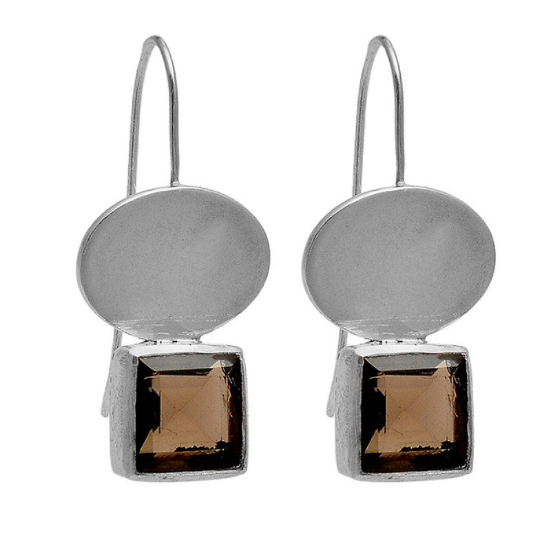 Square Shape Smoky Quartz Gemstone 925 Sterling Silver Gold Plated Earrings