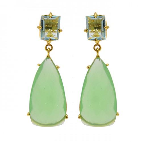 Blue Topaz Chalcedony Gemstone 925 Sterling Silver Gold Plated Dangle Stud Earrings