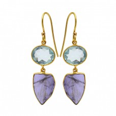 Blue Topaz Amethyst Gemstone 925 Sterling Silver Gold Plated Dangle Earrings