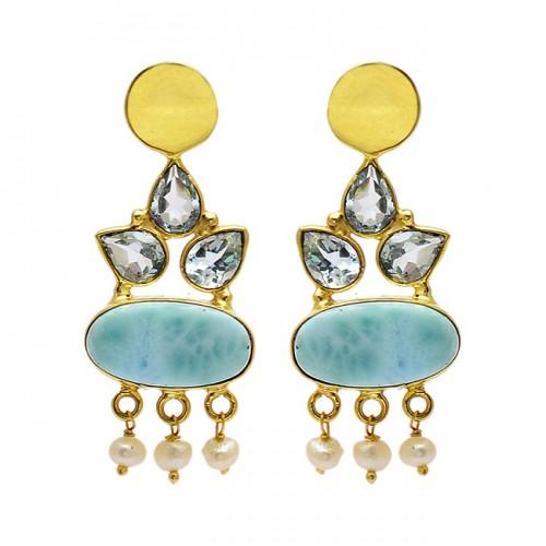 Blue Topaz Larimar Pearl Gemstone 925 Sterling Silver Gold Plated Stud Dangle Earrings