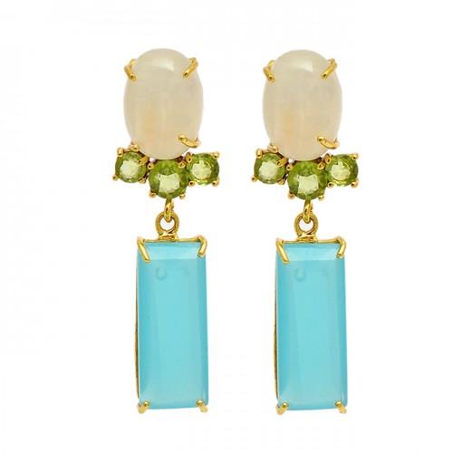 Moonstone Peridot Chalcedony Gemstone 925 Sterling Silver Gold Plated Stud Earrings