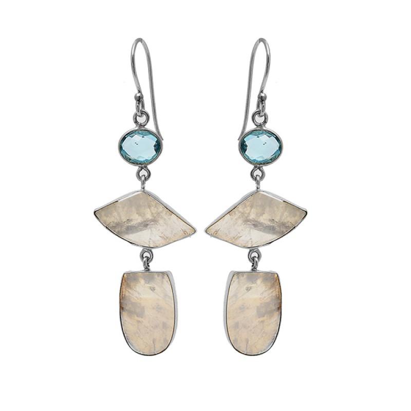 Blue Topaz Rainbow Moonstone 925 Sterling Silver Gold Plated Dangle Earrings