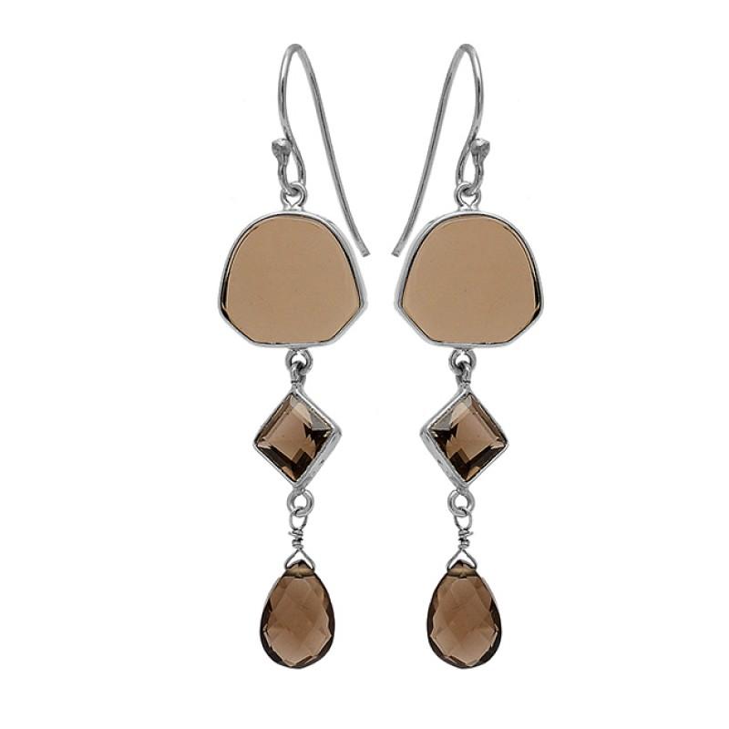 Smoky Quartz Gemstone 925 Sterling Silver Gold Plated Designer Dangle Earrings