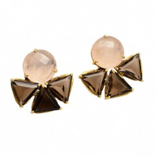 Rose Quartz Smoky Quartz Gemstone 925 Sterling Silver Gold Plated Stud Earrings