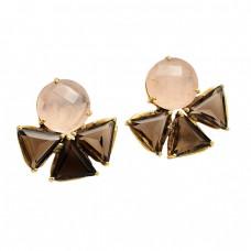Rose Quartz Smoky Quartz Gemstone 925 Sterling Silver Gold Plated Stud Earrings