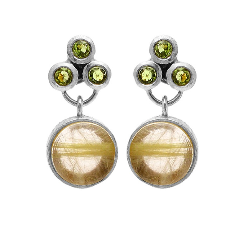 Peridot Golden Rutile Quartz Gemstone 925 Sterling Silver Gold Plated Stud Earrings