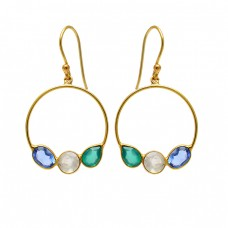 Blue Topaz Moonstone Onyx Gemstone 925 Sterling Silver Gold Plated Dangle Earrings