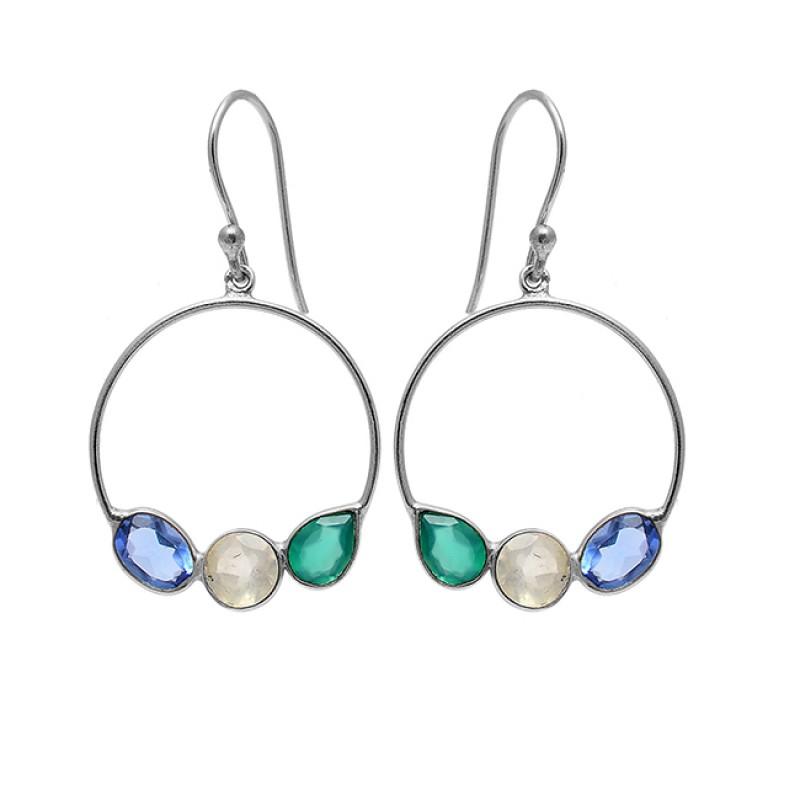 Blue Topaz Moonstone Onyx Gemstone 925 Sterling Silver Gold Plated Dangle Earrings