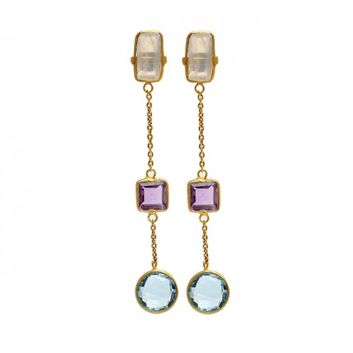 925 Sterling Silver Moonstone Amethyst Topaz Gold Plated Chain Dangle Earrings
