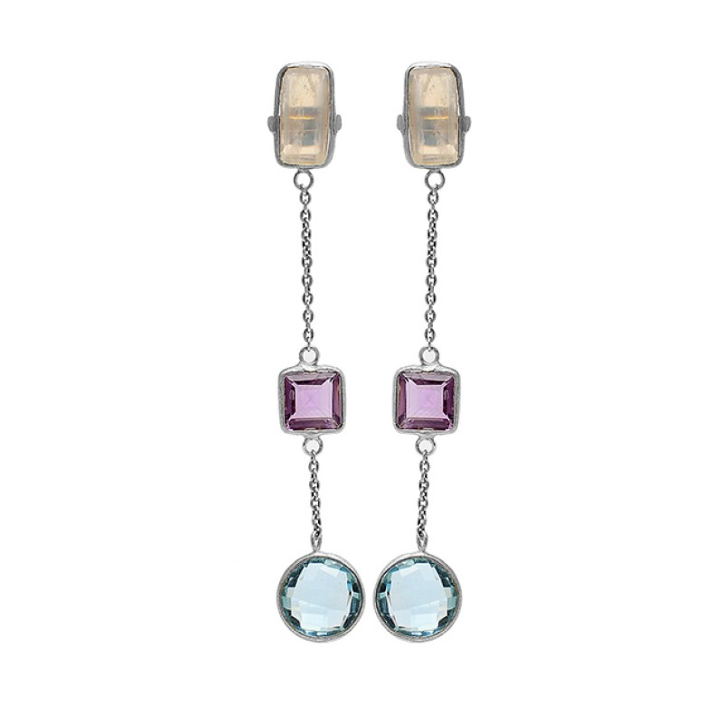 925 Sterling Silver Moonstone Amethyst Topaz Gold Plated Chain Dangle Earrings