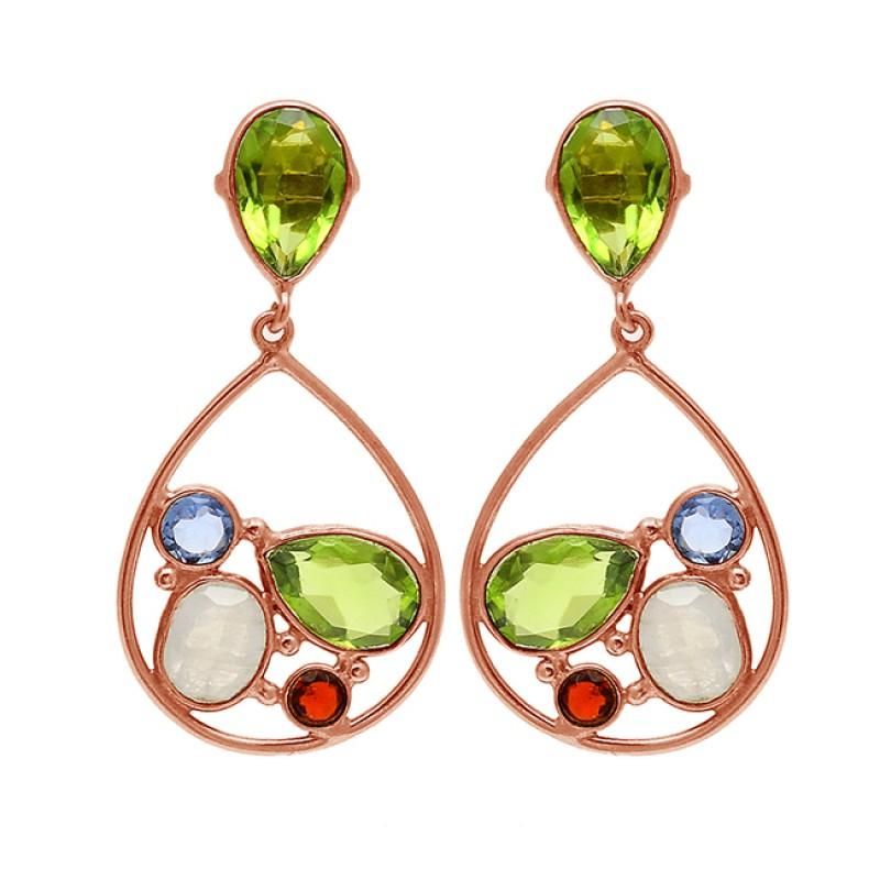 Paridot Topaz Moonstone Garnet Gemstone 925 Silver Gold Plated Stud Dangle Earrings
