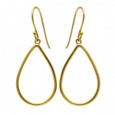 Stylish Handmade Designer Plain 925 Sterling Silver Gold Plated Dangle Earrings