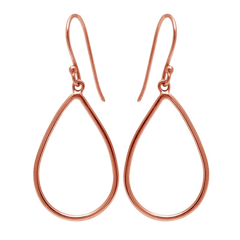 Stylish Handmade Designer Plain 925 Sterling Silver Gold Plated Dangle Earrings