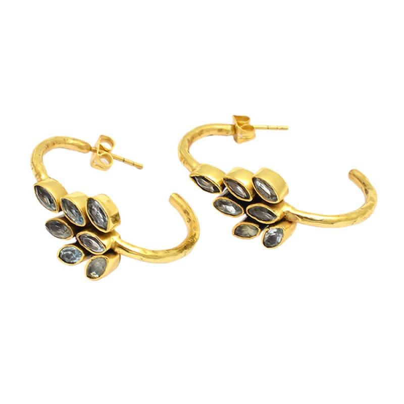 Designer Handcrafted Blue Topaz Marquise Shape Gemstone Gold Plated Hoop Earrings