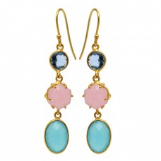 925 Sterling Silver Round Oval Shape Gemstone Gold Plated Dangle Earrings