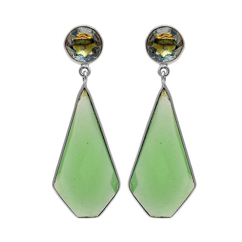 925 Sterling Silver Topaz Chalcedony Gemstone Gold Plated Stud Dangle Earrings
