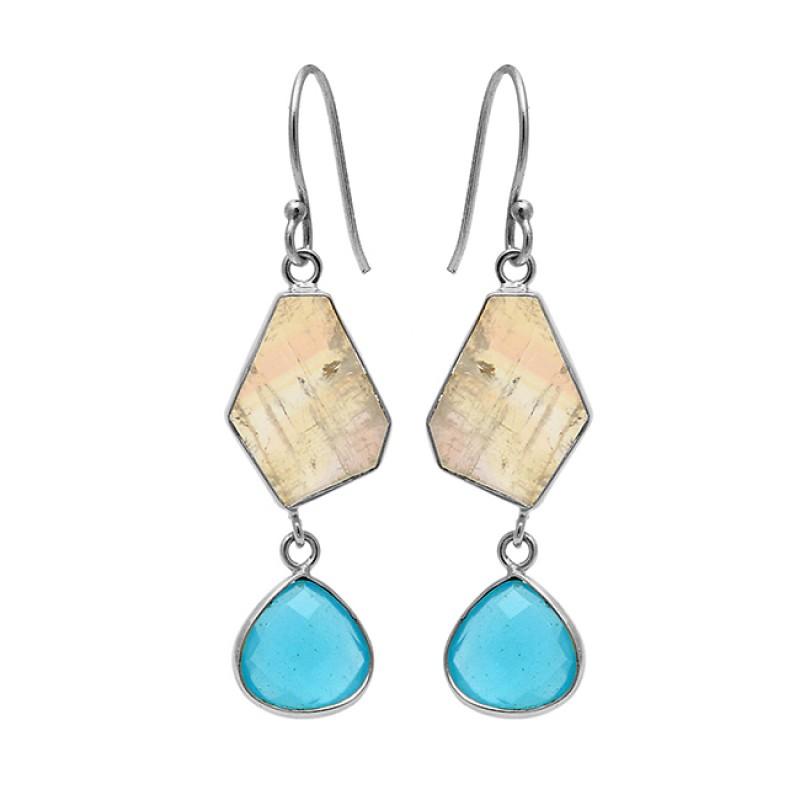 925 Sterling Silver Moonstone Topaz Gold Plated Handmade Designer Earrings