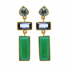 925 Sterling Silver Topaz Amethyst Chrysoprase Gemstone Gold Plated Earrings