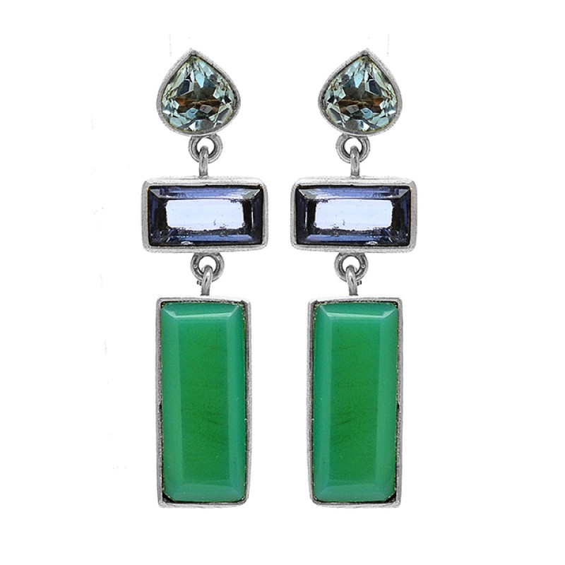 925 Sterling Silver Topaz Amethyst Chrysoprase Gemstone Gold Plated Earrings