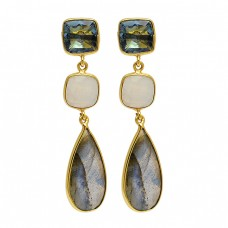 925 Sterling Silver Topaz Moonstone Labradorite Gold Plated Dangle Stud Earrings