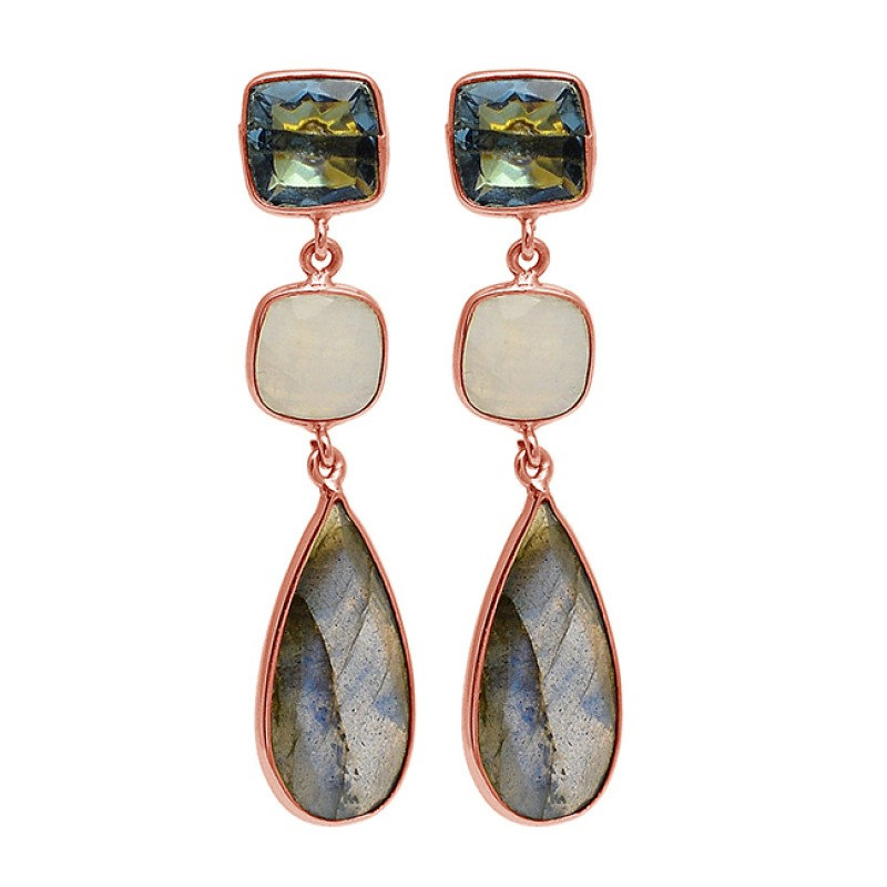 925 Sterling Silver Topaz Moonstone Labradorite Gold Plated Dangle Stud Earrings