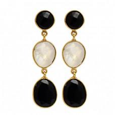 Black Onyx Moonstone 925 Sterling Silver Gold Plated Dangle Stud Earrings
