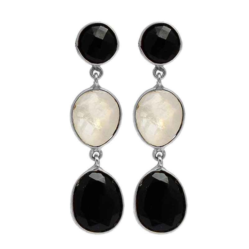 Black Onyx Moonstone 925 Sterling Silver Gold Plated Dangle Stud Earrings