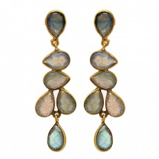 Bezel Setting Pear Shape Labradorite Gemstone 925 Silver Gold Plated Stud Earrings