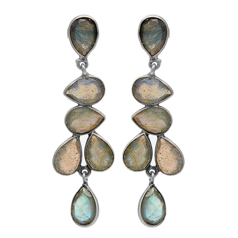 Bezel Setting Pear Shape Labradorite Gemstone 925 Silver Gold Plated Stud Earrings
