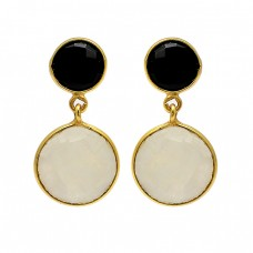925 Sterling Silver Black Onyx Moonstone Gold Plated Dangle Stud Earrings