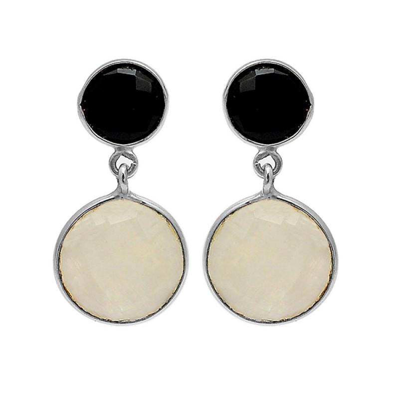 925 Sterling Silver Black Onyx Moonstone Gold Plated Dangle Stud Earrings