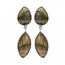 Labradorite Gemstone 925 Sterling Silver Gold Plated Bezel Setting Stud Earrings