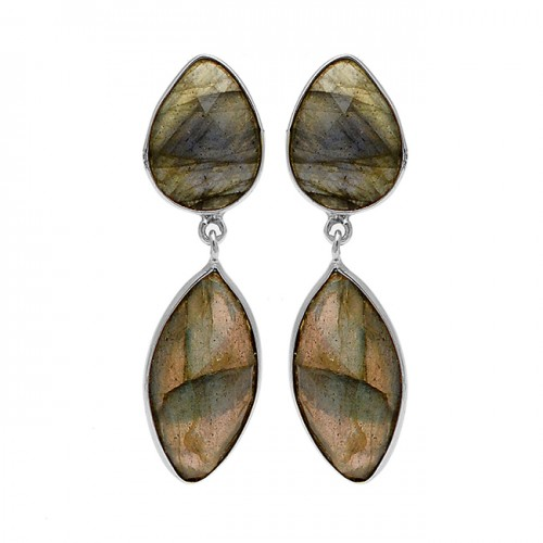 Labradorite Gemstone 925 Sterling Silver Gold Plated Bezel Setting Stud Earrings