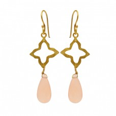 Rose Chalcedony Pear Shape Gemstone 925 Sterling Silver Gold Plated Dangle Earrings
