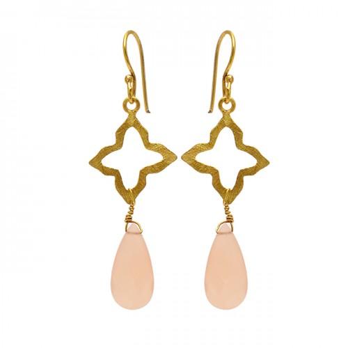 Rose Chalcedony Pear Shape Gemstone 925 Sterling Silver Gold Plated Dangle Earrings