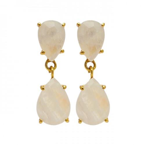 Pear Shape Rainbow Moonstone 925 Sterling Silver Gold Plated Stud Dangle Earrings