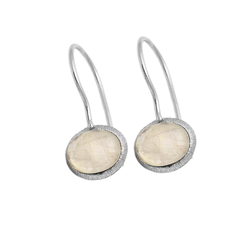 Cabochon Oval Rose Quartz Gemstone 925 Sterling Silver Gold Plated Earrings